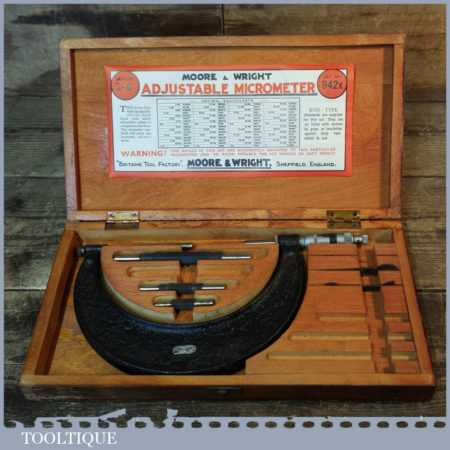 """Vintage Boxed No: 942 Moore & Wright 2""""- 6"""" Micrometer - Good Condition"""