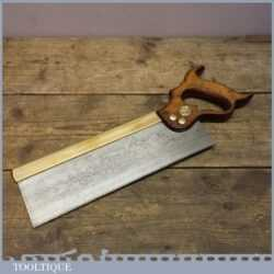 """Vintage Sheffield Made Superior Warranted 12"""" Brass Back Tenon Saw"""