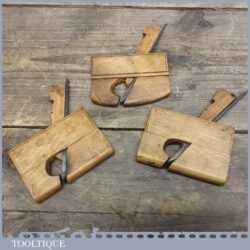 Trio of Miniature Continental Chestnut Wood Planes - Probably French