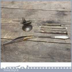Vintage Watchmakers Tools - Bone End Tweezers, Clamping Tool, Bone Handled File, Screwdrivers