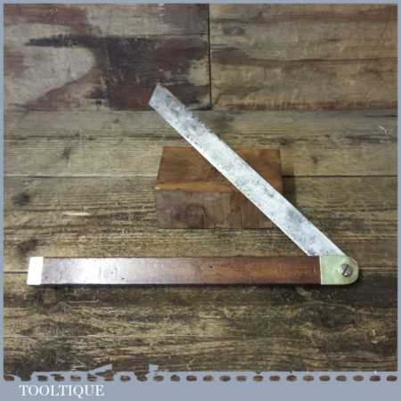 """Vintage Carpenter's Mahogany And Brass Bevel With 12"""" Blade"""
