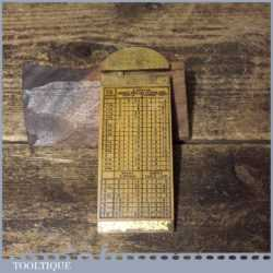 Vintage J Rabone No: 1206 Boxwood Brass Rope Gauge Slide Rule