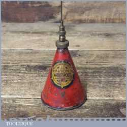 Vintage Small Alton Valvespout Oil Can With Good Decal And Paint