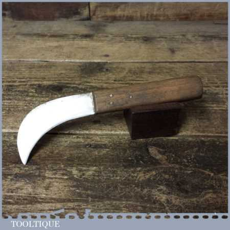 Vintage Cobblers Leatherworking Butt Knife Beech Handle - Good Condition