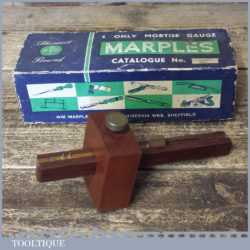 Vintage Boxed Marples Mahogany Brass Mortise Gauge - Good Condition