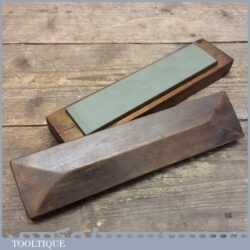 Vintage Green Charnley Forest Natural honing Oil Stone In Wooden Box