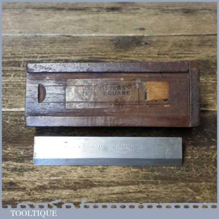 """Vintage Boxed I & D Smallwood Box Fitter's 4"""" Steel Square - Good Condition"""