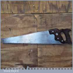 "Vintage Disston USA 24"" Cross Cut Panel Handsaw 6 TPI - Sharpened Refurbished"