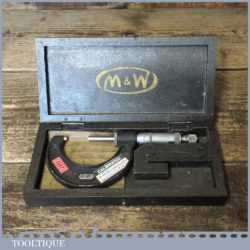 """Vintage Boxed Moore & Wright No: 966 1"""" – 2"""" Imperial Micrometer - Good Condition"""