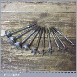 Vintage Set 10 Single Wing Screw Centre Bits - Sharpened Ready For Use