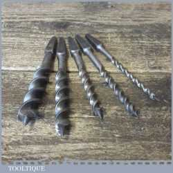 "Vintage Set 5 Stumpy Double Spur Screw Auger Bits 3/16"" – 3/4"" Sharpened"