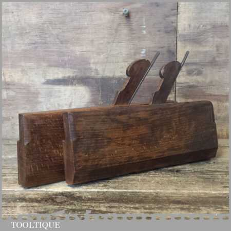 """Pair 5/8"""" Antique John Moseley Hollow And Round Beechwood Moulding Planes"""