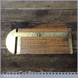 Vintage I & D Smallwood Boxwood Brass Caliper Rope Gauge - Good Condition