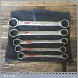 Vintage Set 6 Gordon Imperial Ring Spanners In Roll - Good Condition