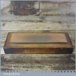 """Vintage 8"""" x 2"""" India Oil Stone Pine Base Good Used Condition - Lapped Flat"""