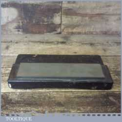 """Vintage 8"""" x 2"""" Carborundum Oil Stone Wooden Box Good Used Condition - Lapped Flat"""
