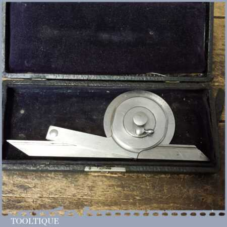 Vintage Boxed L. S. Starrett Co USA Engineer's Protractor Pat 1892 - Good Condition