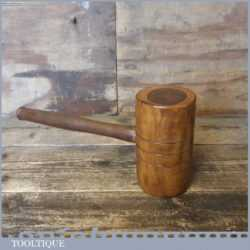 Unusual Wood Turned Old Lignum Mallet - Beech Handle Ebony Wedge
