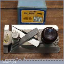 Vintage boxed Record No: 2506 side rabbet plane complete with fence, refurbished ready for use and in little used condition.