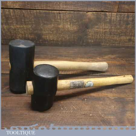 2 X Vintage Panel Beaters Rubber Mallets Wooden Handles - Good Condition