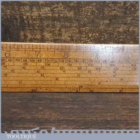 """Very Rare Antique J. Buck 1881-1910 Boxwood Brass 24"""" Contraction Scale Rule"""