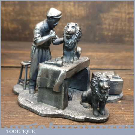 Heavy Evergreen Ornament Of Stonemason At Work Carving Lions c1960's