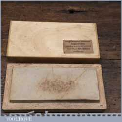 "Vintage Arkansas 4"" x 1 ½"" Lily White Oil Stone Beechwood Box - Lapped flat"