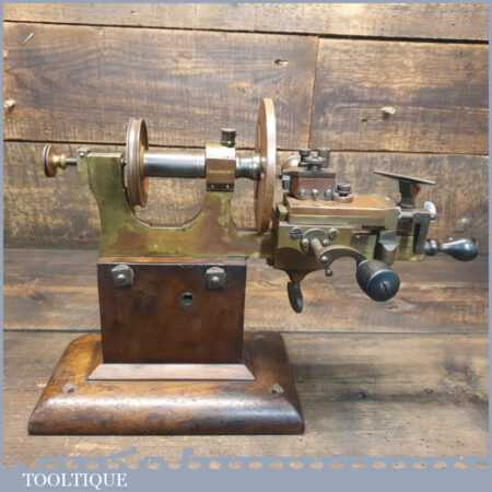 Extremely Rare Antique Abingdon Ecco Ltd Pre King Dick Watchmaker's Brass & Steel Lathe