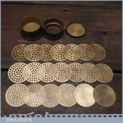 Rare Antique Pierres France Jeweller's Brass Diamond Sieve With Plates - Original Condition