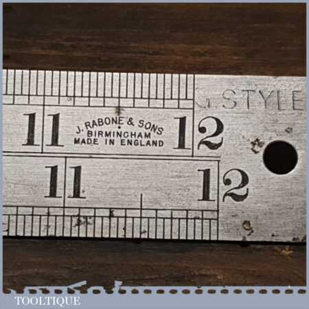 "Vintage 12"" John Rabone & Sons No: 142 Imperial Contraction Steel Ruler - Original Wrapper"