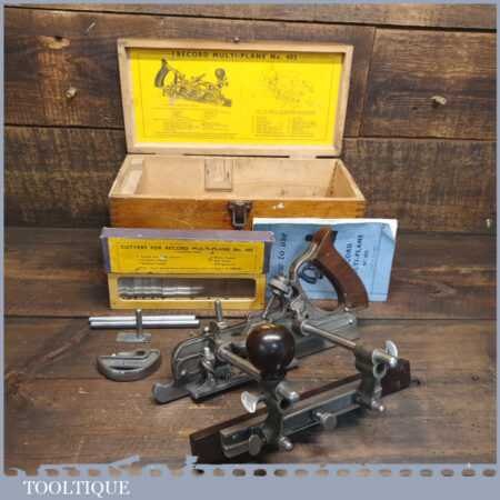 Vintage Boxed Record No: 405 Combination Plough Plane Complete - Fully Refurbished