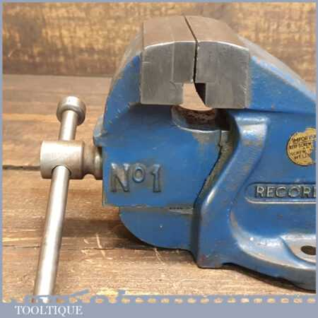 """Vintage Record No: 1 Engineer's Vice With 3"""" Jaws - Good Condition"""