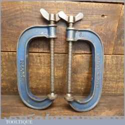 """Vintage Pair Of Record 6"""" Woodworking G Clamps - Good Condition"""