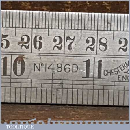 "Vintage 24"" Chesterman No: 1486D Metric & Imperial 1/120 Contraction Ruler"