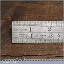 """Vintage 12"""" J. Rabone & Sons No: 142 Imperial Triple Contraction Ruler"""