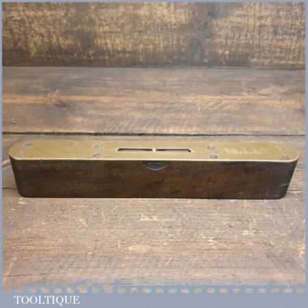 """Vintage 10"""" Mahogany Brass Spirit Level With Original Clear Bubble"""