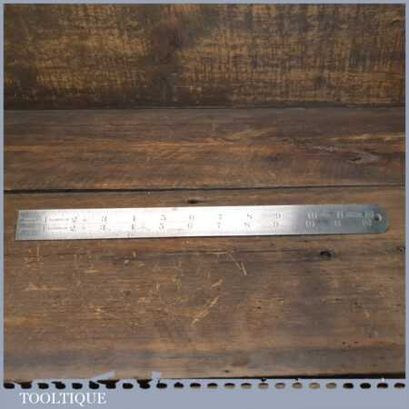 Vintage 12″ J. Rabone & Sons No: 136 Imperial Contraction Steel Rule 1/38 + 1/77