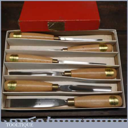Boxed Set 6 No: Ashley Iles Wood Carving Chisels - Little Used Condition