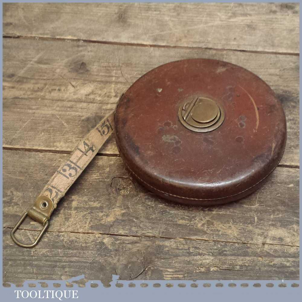 Vintage Chesterman 100ft Leather Bound Winding Tape Measure