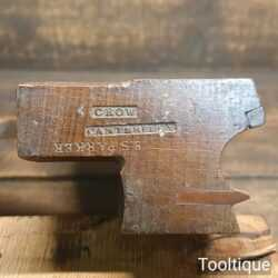 Antique Crow 1859-1890 Torus Beechwood Moulding Plane - Good Condition