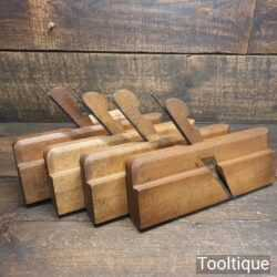 Patternmakers Crisp Set 4 Antique Round Beechwood Moulding Planes 12, 14, 16 & 18