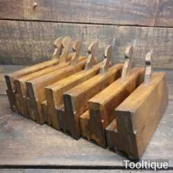 "Crisp set of 7 No: antique W. Greenslade of Bristol side bead moulding planes (⅛, ¼, ⅜, ½, ⅝, ⅞ & 1"")"