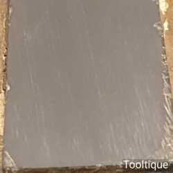 """Vintage 4 ½"""" x 1 ½"""" Natural Slate Oilstone In Pine Box - Lapped flat"""