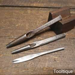 2 No: Vintage Leatherworker's Hole Punches One By Dixon - Good Condition