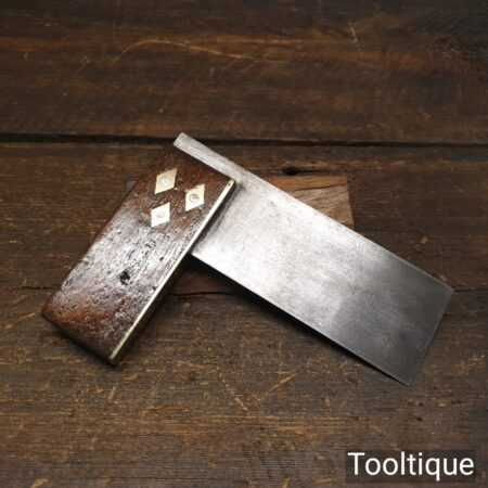 """Vintage Carpenters 4 ½"""" Rosewood & Brass Try Square - Good Condition"""