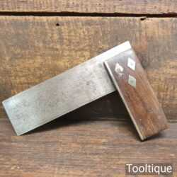 """Vintage Carpenters 6"""" Rosewood & Brass Try Square - Good Condition"""
