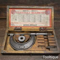 """Vintage Boxed Moore & Wright 0"""" – 2"""" Imperial Micrometer No: 940 - Good Condition"""