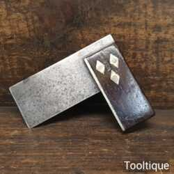 """Vintage Small 3"""" Rosewood & Brass Square - Good Condition"""