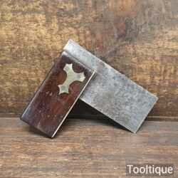 """Vintage 2 3/4"""" Rosewood & Brass Carpenters Try Square - Good Condition"""
