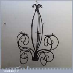 "Vintage Gothic Medieval Wrought Iron Work Candelabra - 23"" Tall"